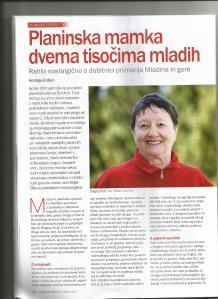 Prva stran članka v Planinskem vestniku, april 2014